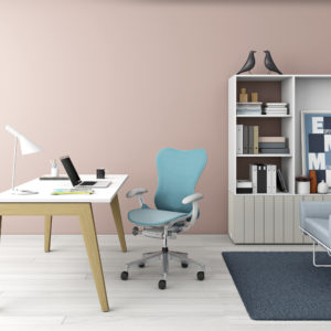escritorio en home office layout studio, de herman miller